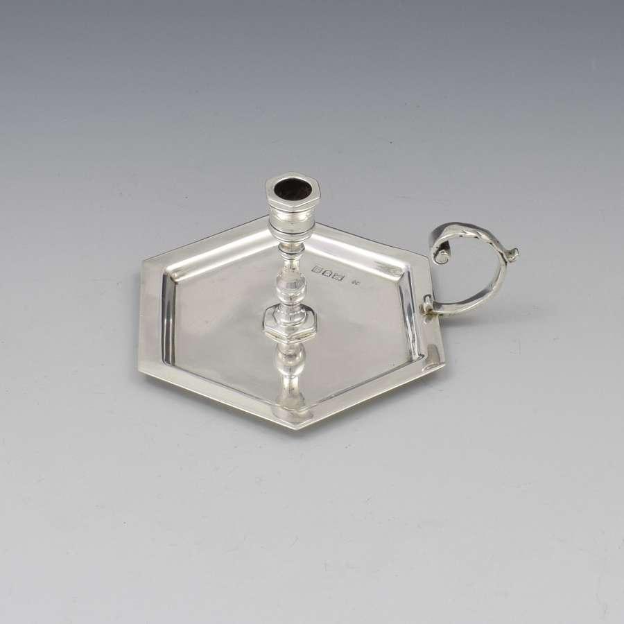 Small Edwardian Hexagonal Silver Taper Chamberstick William Hutton