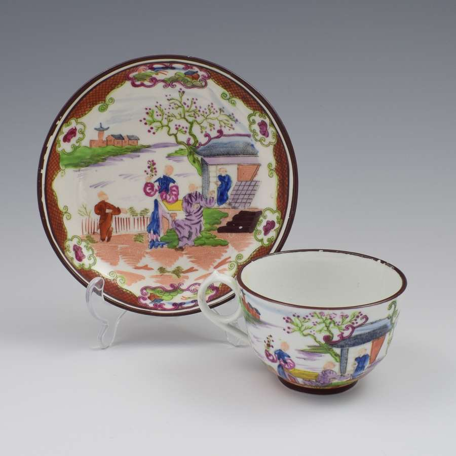 Miles Mason Porcelain Boy At The Door Pattern Tea Cup & Saucer