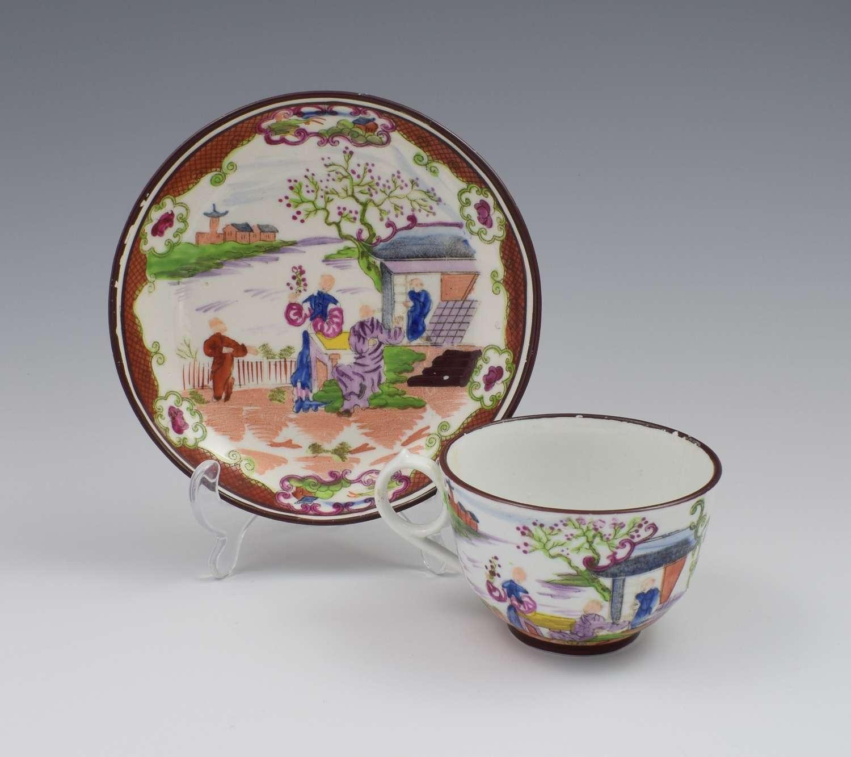 Miles Mason Porcelain Boy At The Door Pattern Tea Cup & Saucer