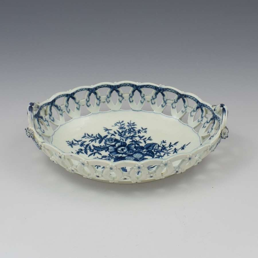 First Period Worcester Porcelain Pine Cone Oval Basket c.1770