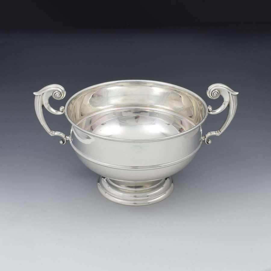 Large Edwardian Silver Twin Handled Table Rose Bowl