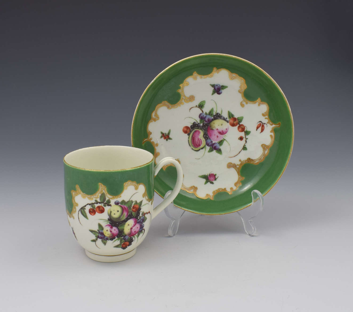 First Period Worcester Porcelain Spotted Fruit Coffee Cup & Saucer