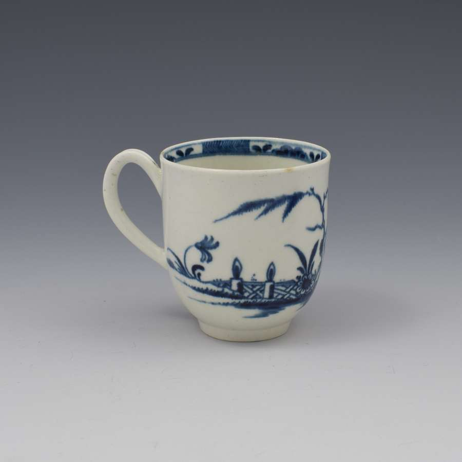 First Period Worcester Porcelain Candle Fence Coffee Cup c.1770