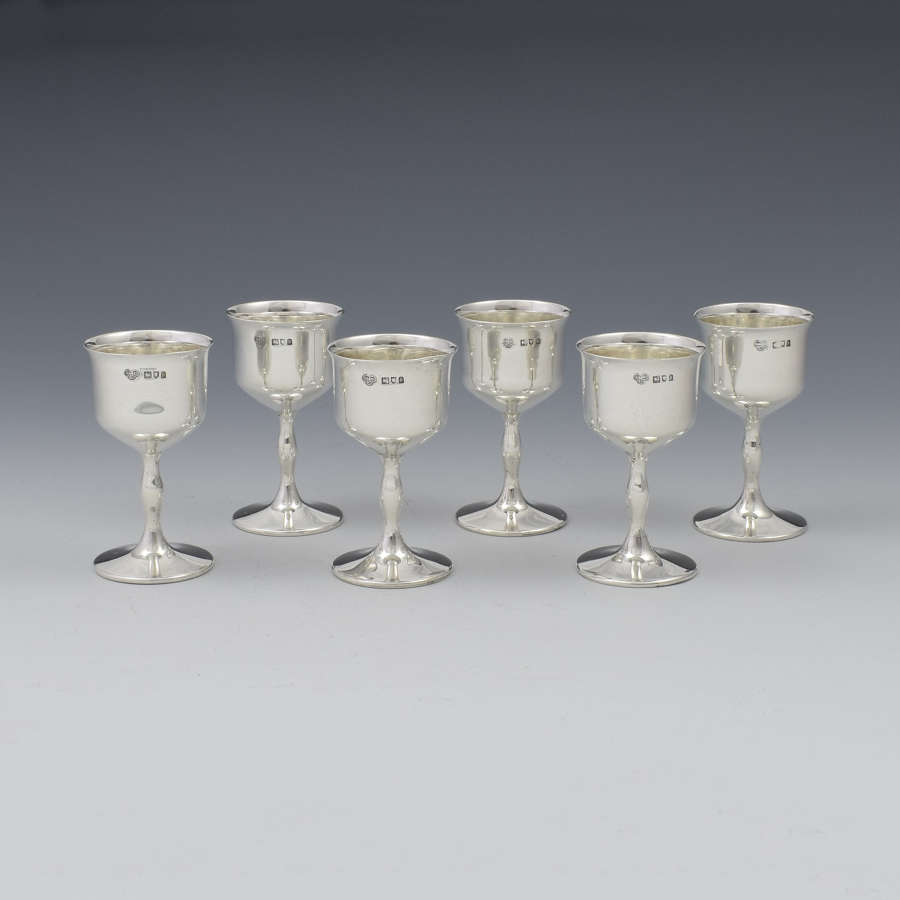 Set Of 6 George V Silver Goblet Spirit Measures / Tot Cups