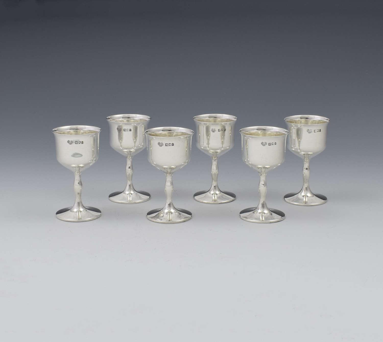 Set Of 6 George V Silver Goblet Spirit Measures / Tot Cups