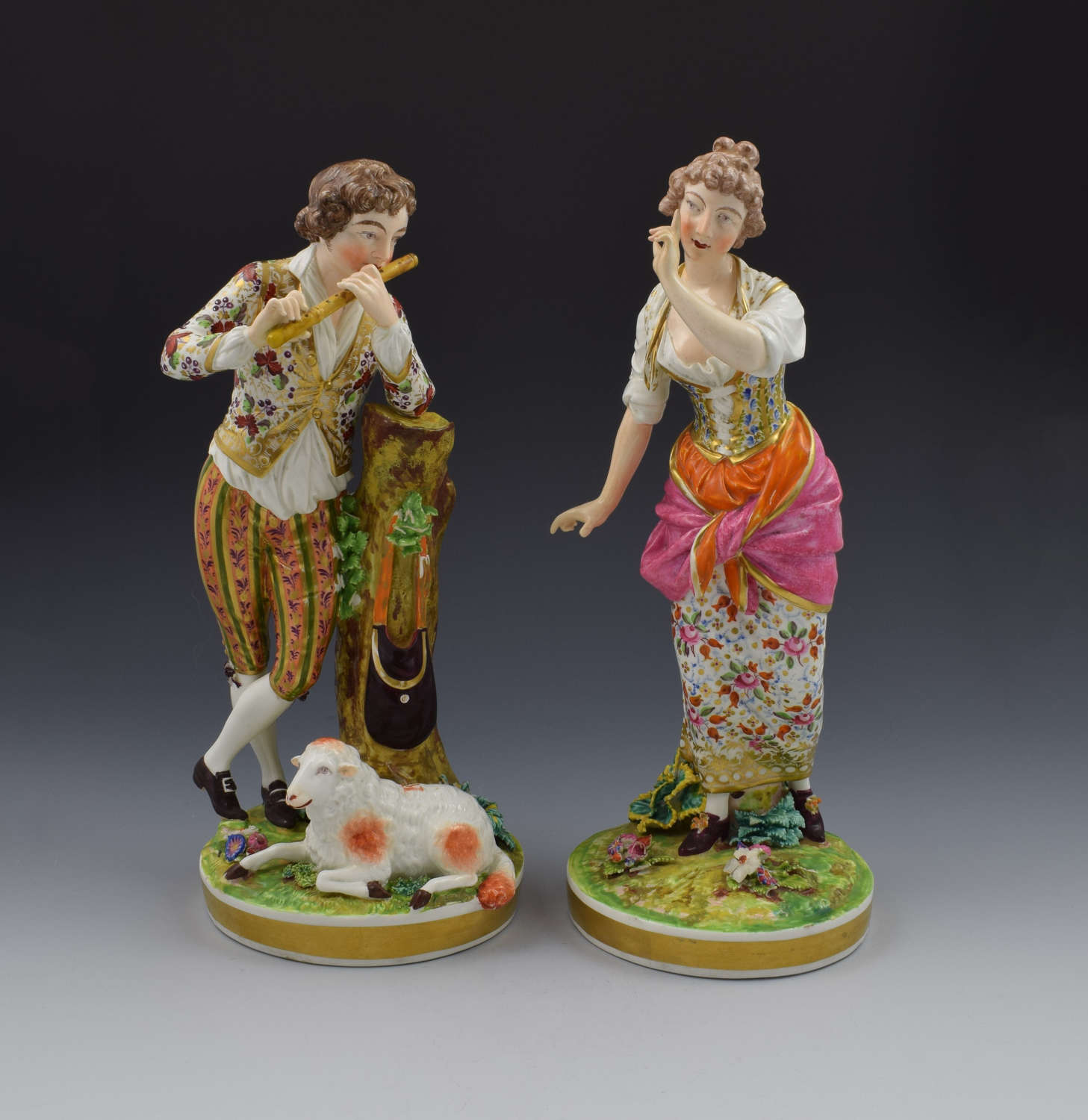 Large Pair Bloor Derby Porcelain Figures Shepherd & Shepherdess N369