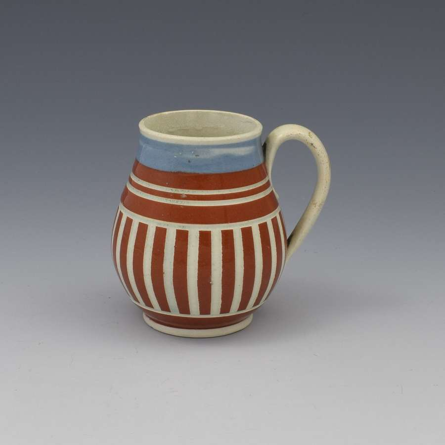 Pearlware Mocha Ware Geometric Striped Mustard Pot c.1820