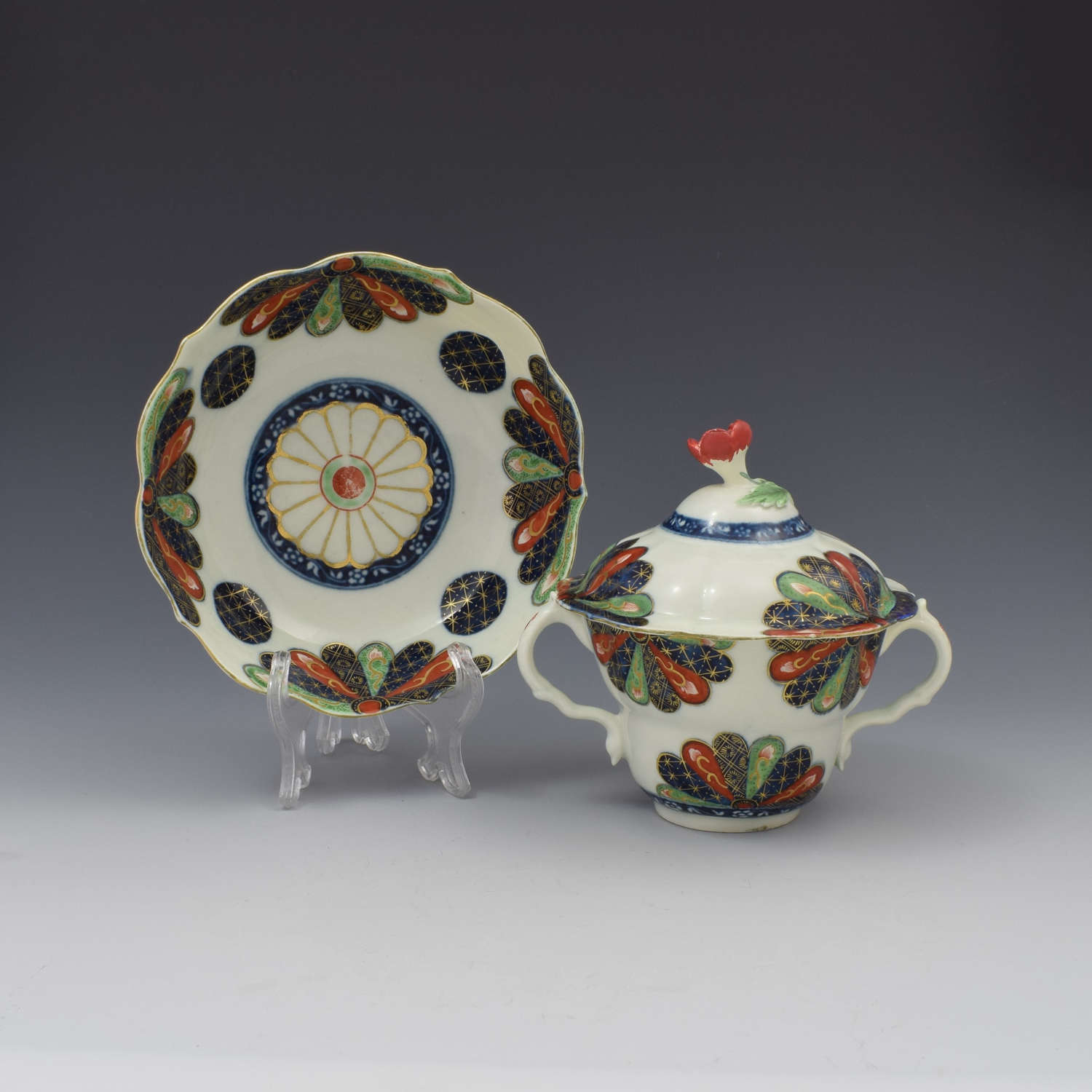 First Period Worcester Old Japan Fan Chocolate Cup, Cover & Stand