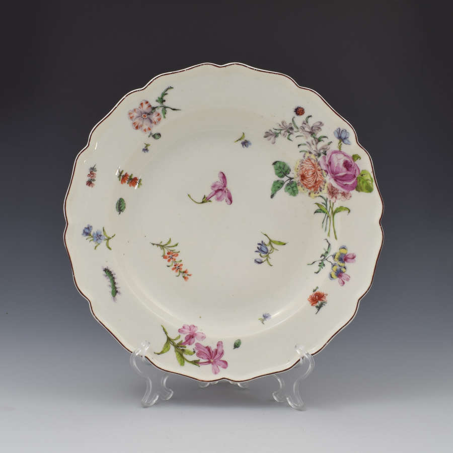 Chelsea Porcelain Red Anchor Period Floral Dessert Plate c.1753-58