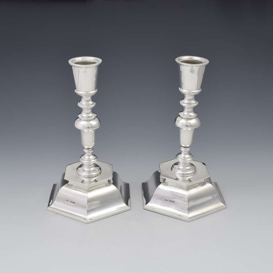 Pair Of Antique Edwardian Sterling Silver Hexagonal Candlesticks