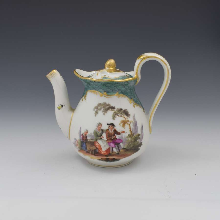 Pretty 19th Century Meissen Porcelain Small Teapot & Cover