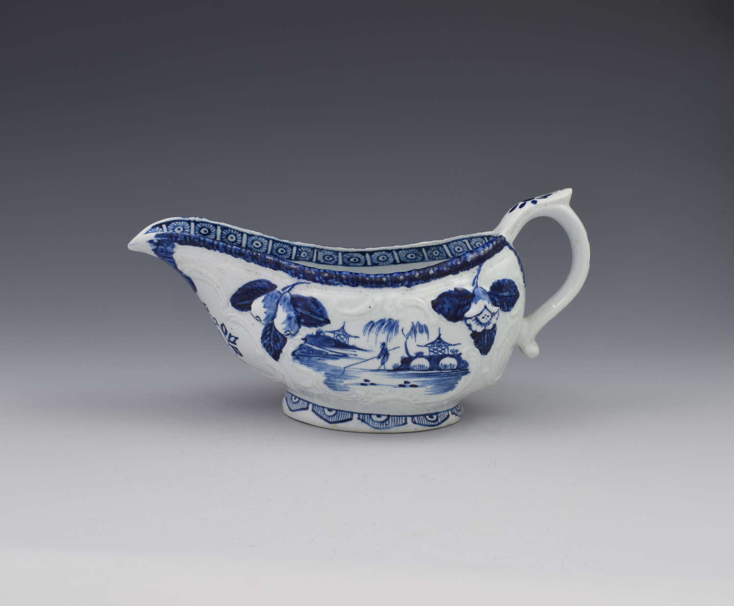 Early Derby Porcelain Blue & White Sauce Boat Chinese Scenes c.1760-65