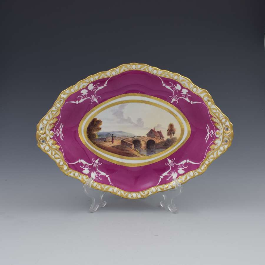 Spode Porcelain Dessert Dish Landscape View Chapelizod Bridge c.1825