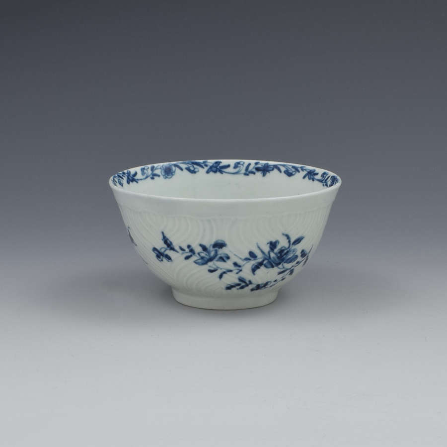 First Period Worcester Porcelain Feather Moulded Small Slop Bowl