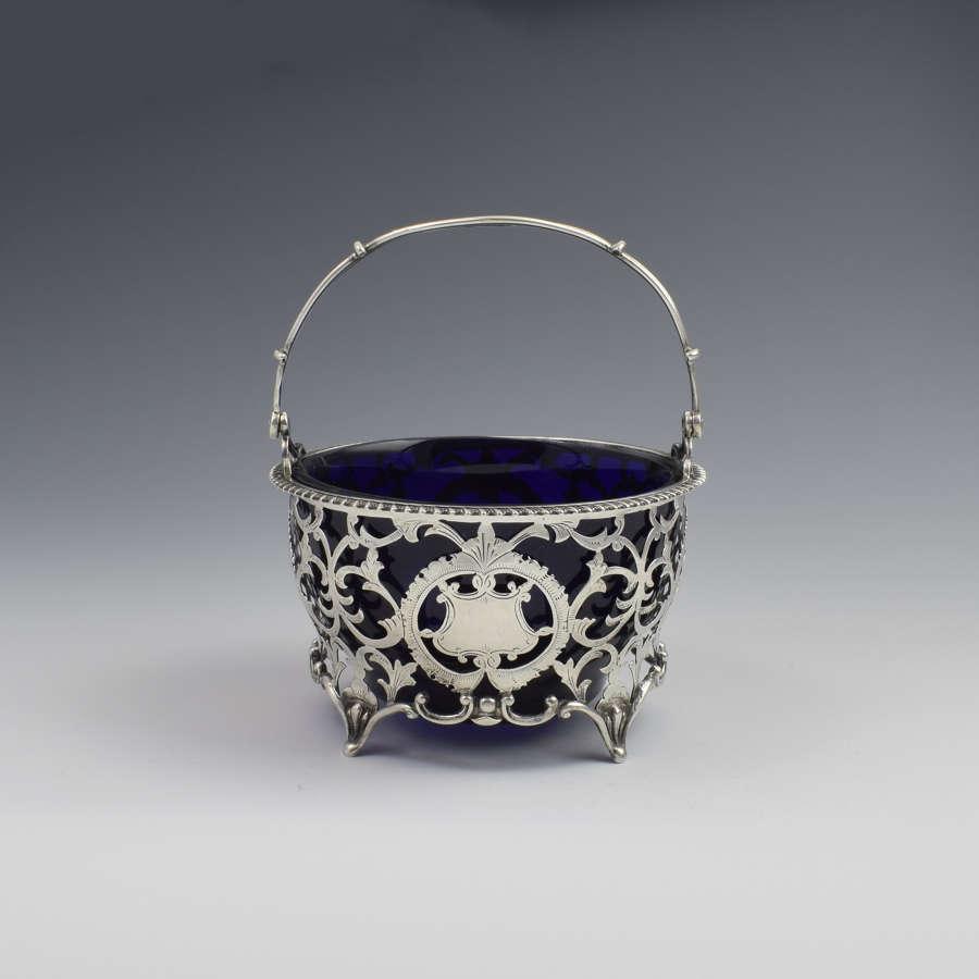 Pretty Edwardian Pierced Silver Sugar Basket