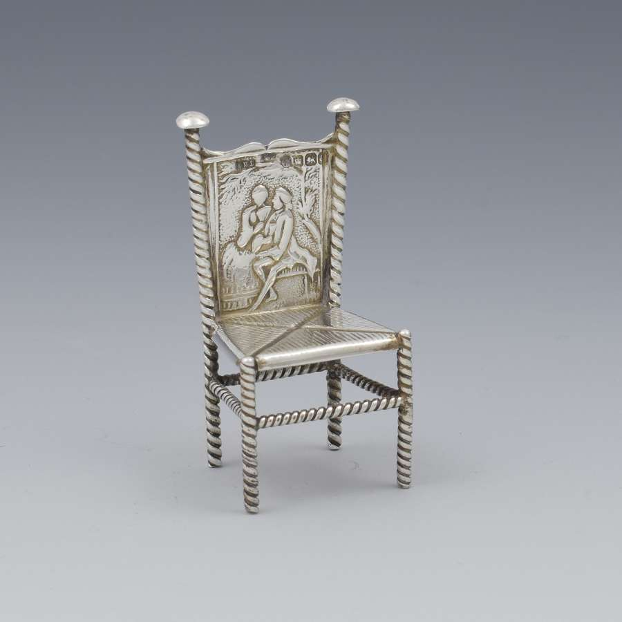 Late 19th Century Dutch Silver Miniature Chair Import Marks 1893