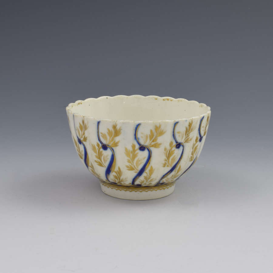 First Period Worcester Porcelain Fluted Tea Bowl