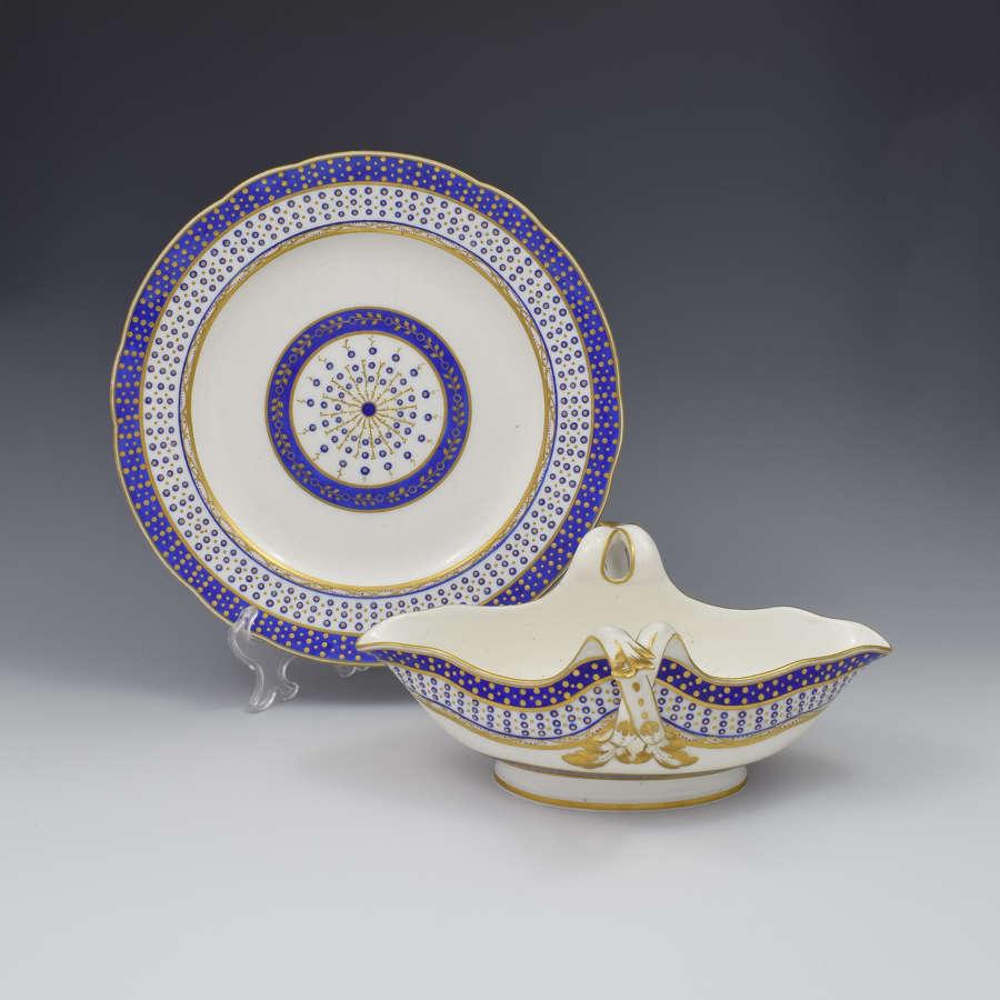 18th Century Sevres Porcelain Sauciere A Deux Sauceboat & Plate