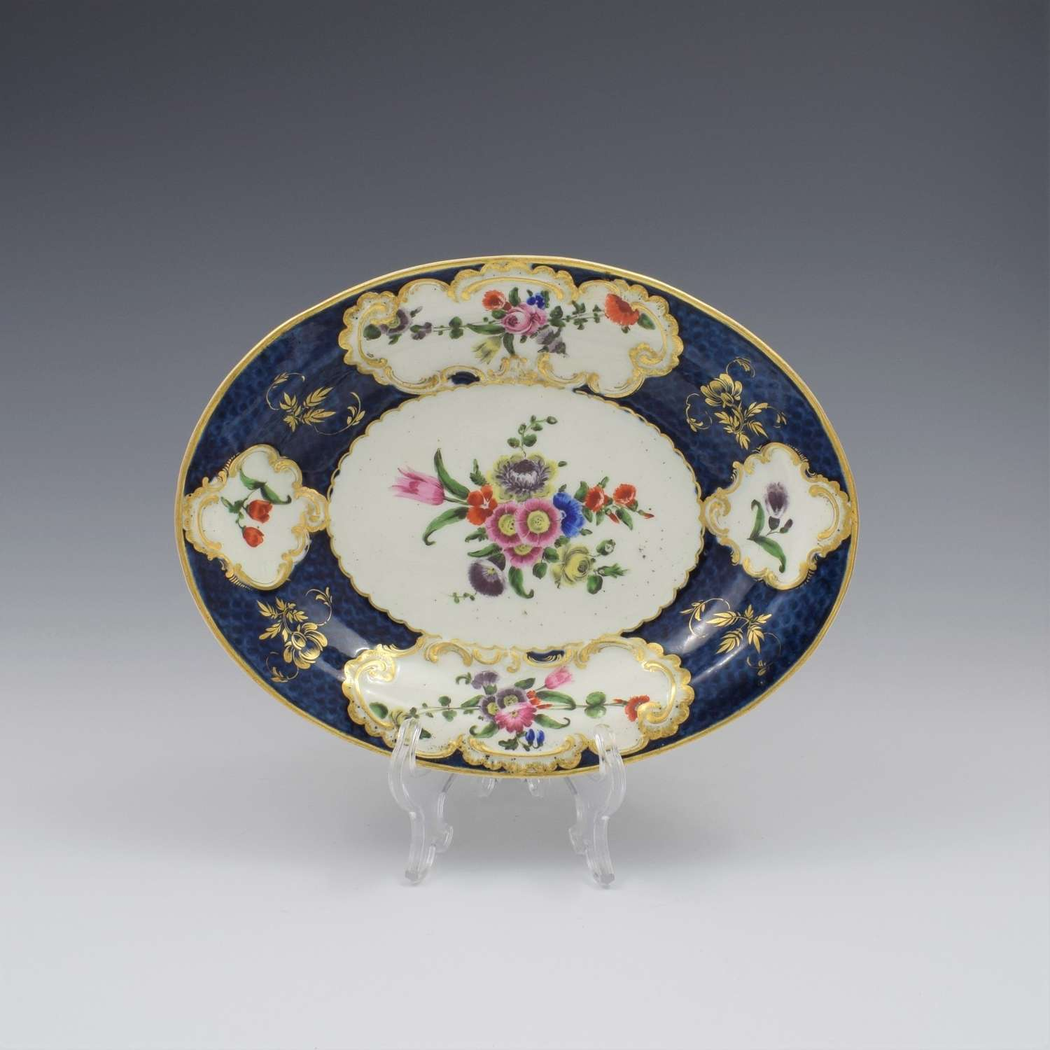 First Period Worcester Porcelain Scale Blue Oval Dish c.1770