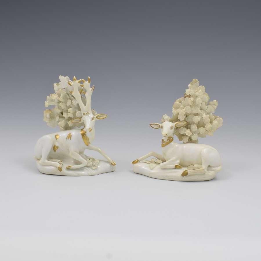 Pair Derby Porcelain Figures Deer, Doe & Stag c.1820