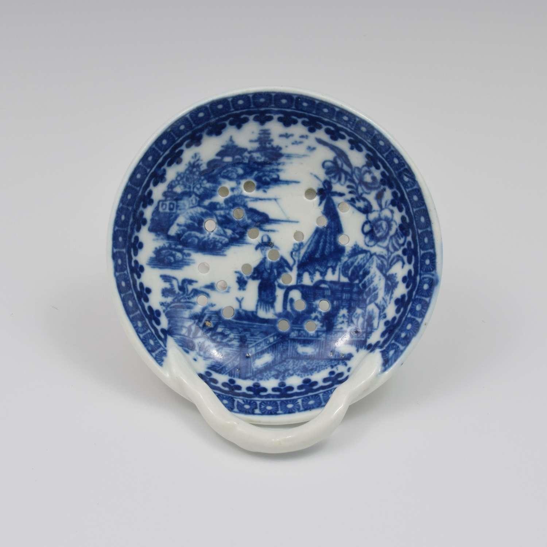 Caughley Porcelain Egg Drainer Fisherman / Pleasure Boat Pattern