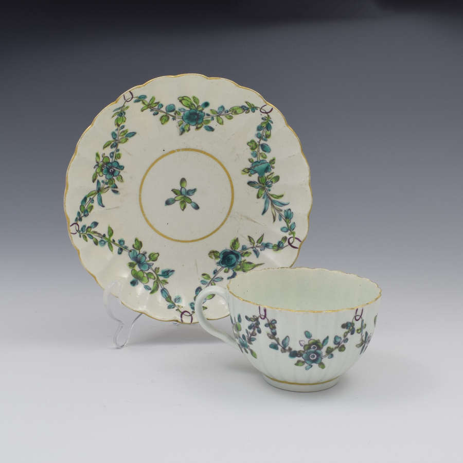 First Period Worcester Porcelain Fluted Cup & Saucer c.1770