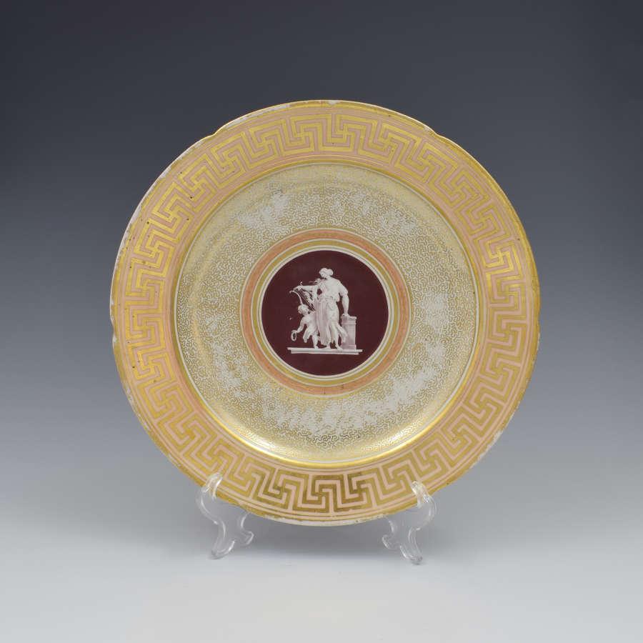 Early Coalport Neo Classical Dessert Plate Greek Key Border c.1805