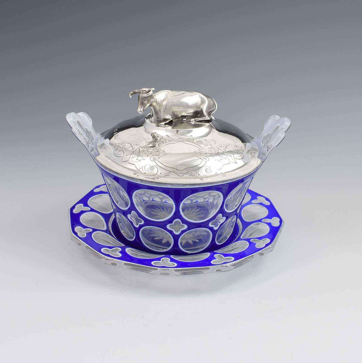 Victorian Blue & White Overlay Glass Butter Dish Silver Cow Cover