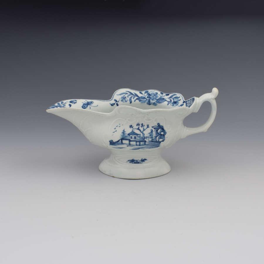 First Period Worcester Porcelain Sauceboat Triangular Platform Pattern