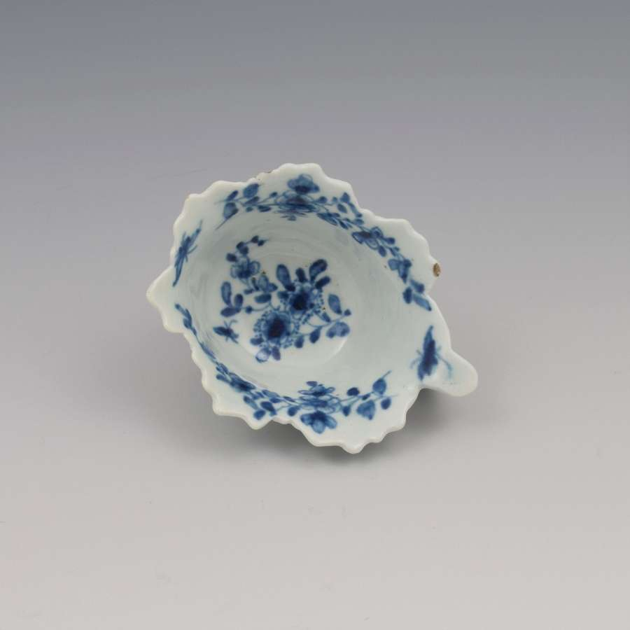 First Period Worcester Porcelain Butter Boat Pickle Leaf Daisy c.1760