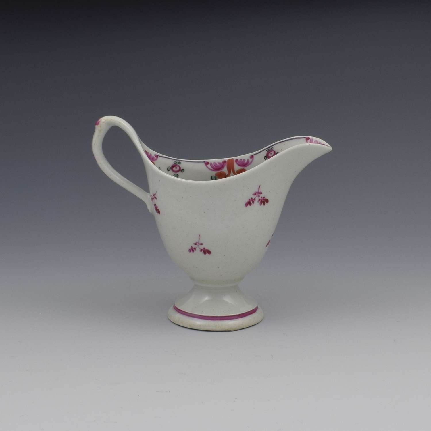 New Hall Porcelain Clip Handle Cream Jug Pattern 121
