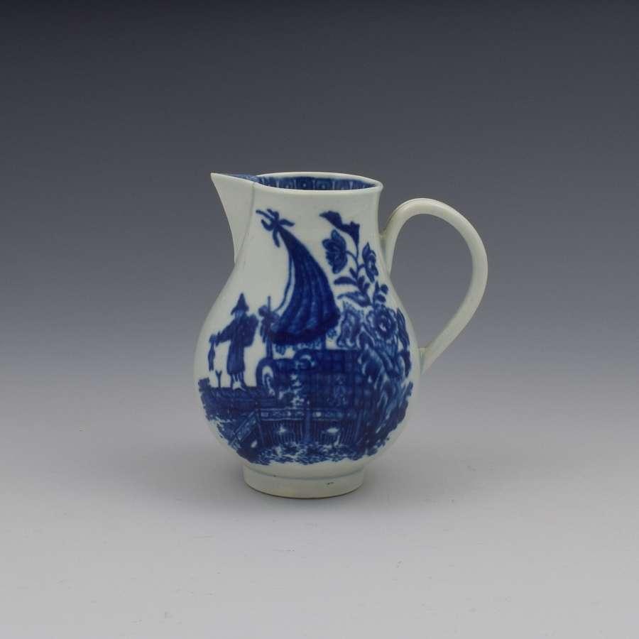 First Period Worcester Porcelain Fisherman Cream Jug c.1775