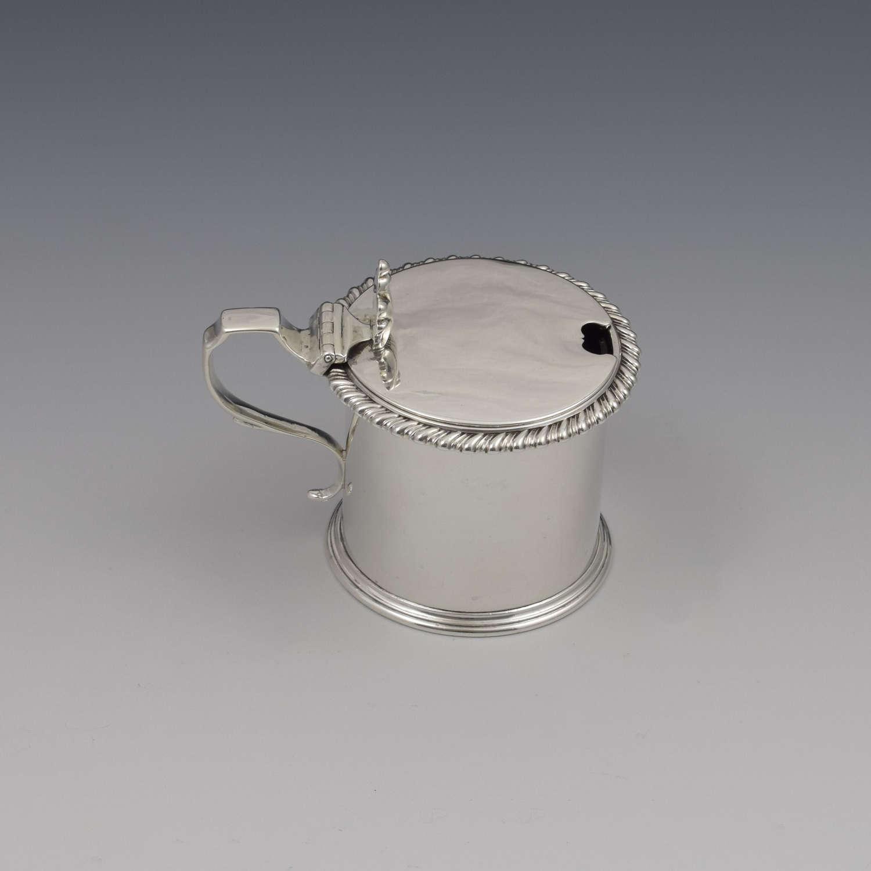 Victorian Silver Drum Mustard Pot London 1866