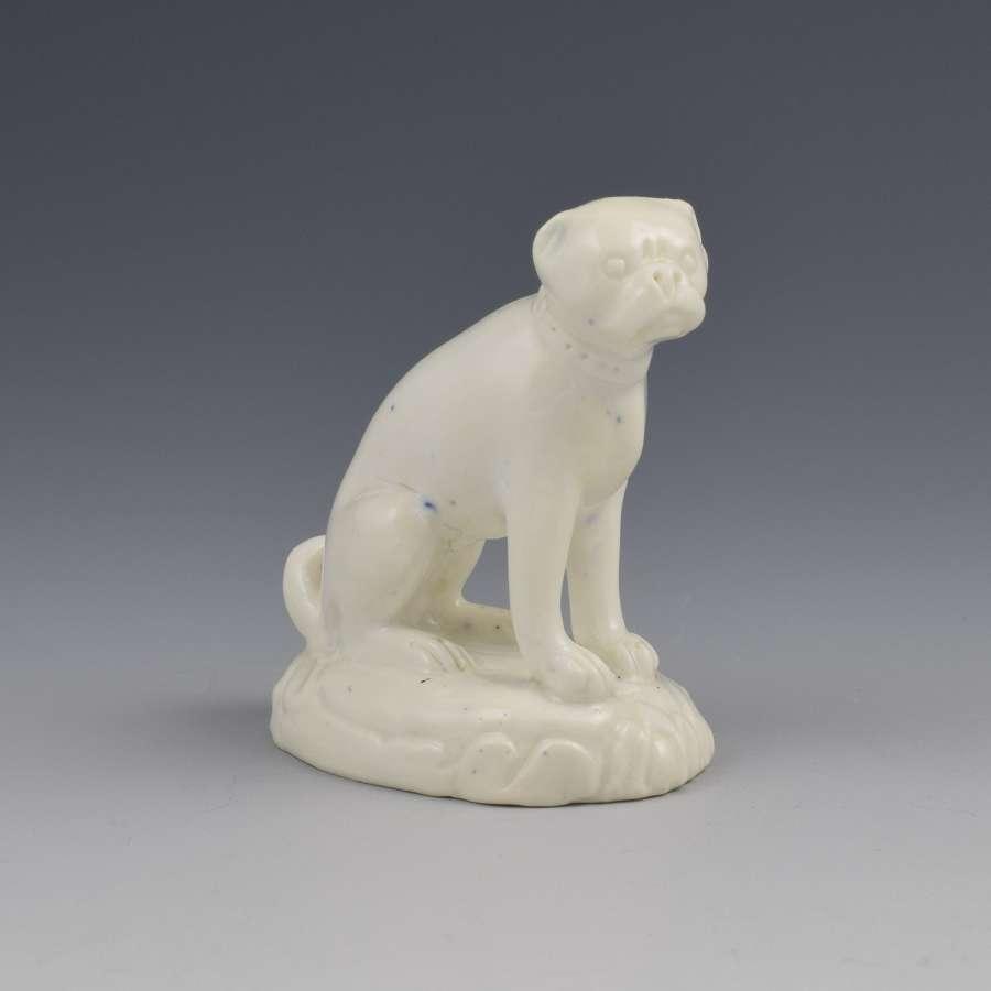 Derby Porcelain White Glazed Figure Of A Pug c.1830
