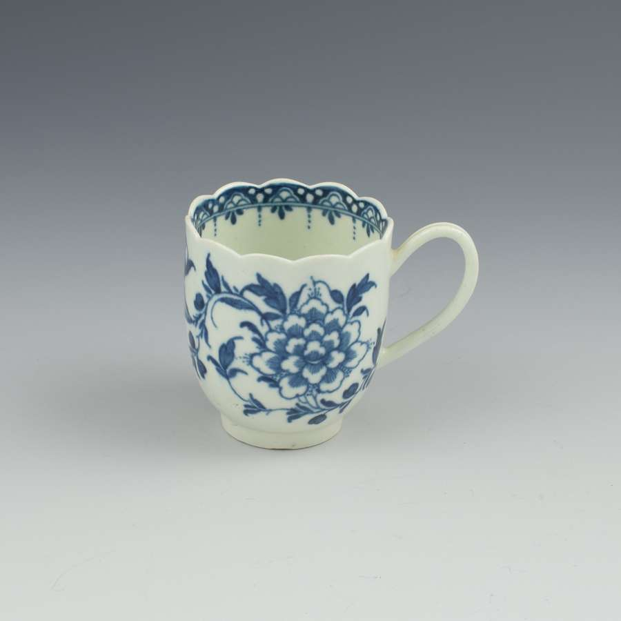 First Period Worcester Porcelain Scalloped Peony Coffee Cup c.1765