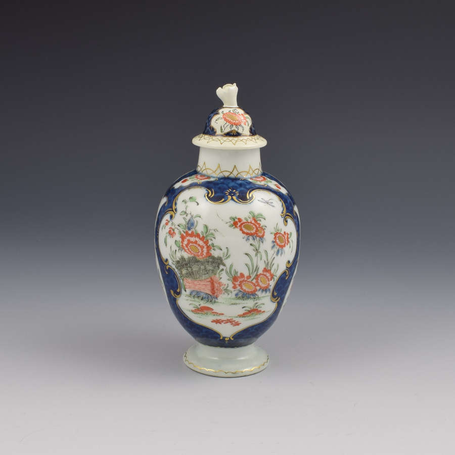 First Period Worcester Blue Scale & Kakiemon Tea Canister / Caddy