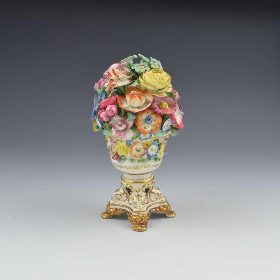 Regency Derby Porcelain Vase Of Encrusted Flowers c.1825