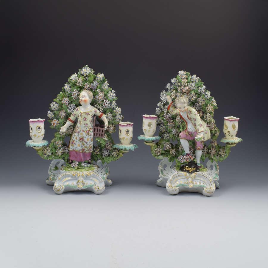 Rare Pair Derby Porcelain Candlestick Figures Liberty & Matrimony