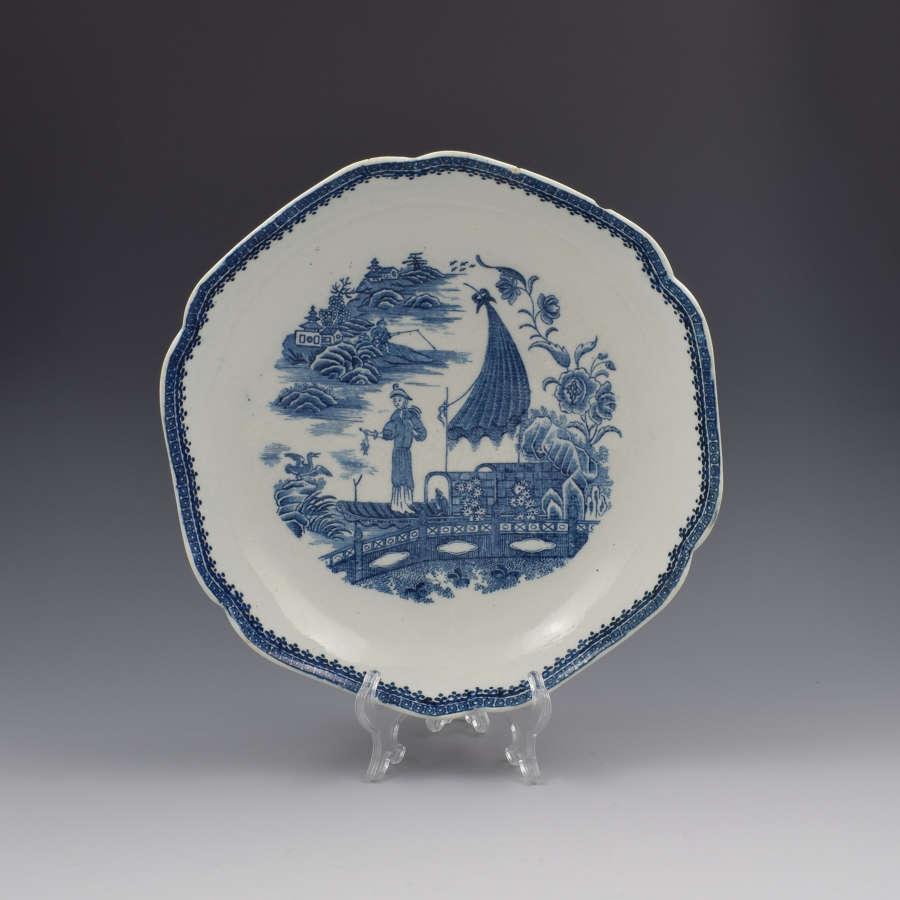 Rare Caughley Porcelain Salad Bowl Fisherman Pattern c.1785