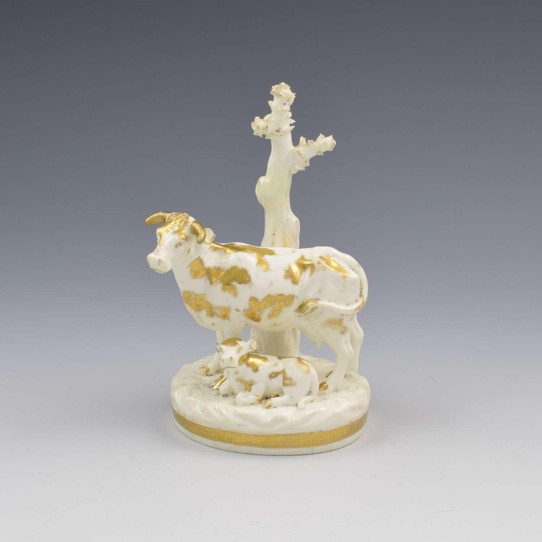 Bloor Derby Porcelain Figure Group Cow & Calf c.1830