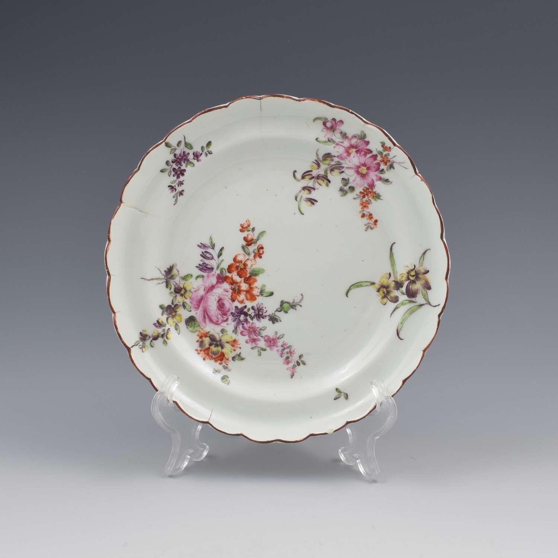 Derby Porcelain Cotton Stem Floral Small Lobed Plate c.1760