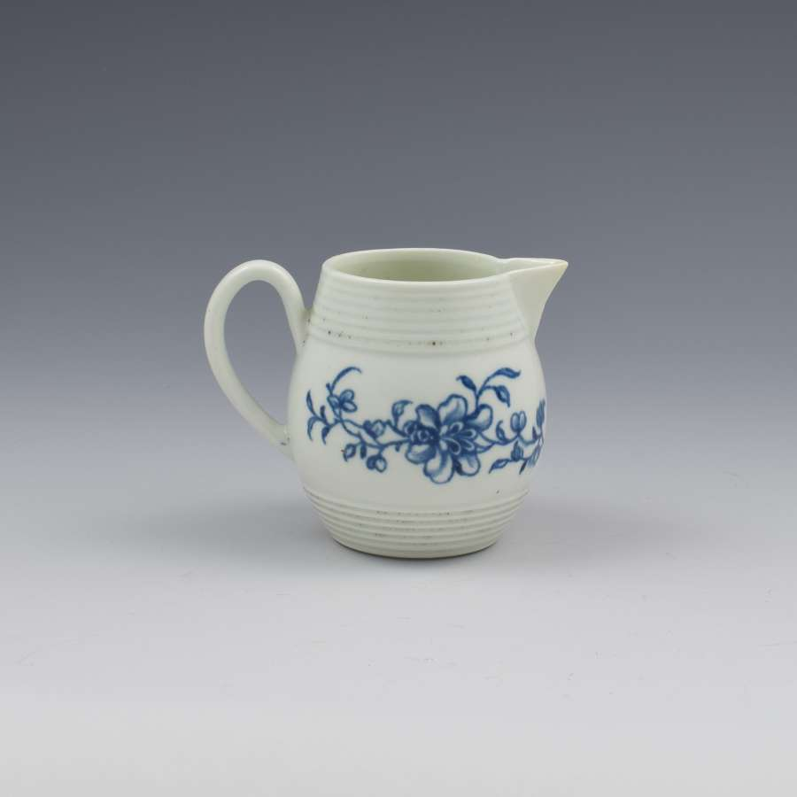 Rare First Period Worcester Porcelain Early Peony Print Cream Jug
