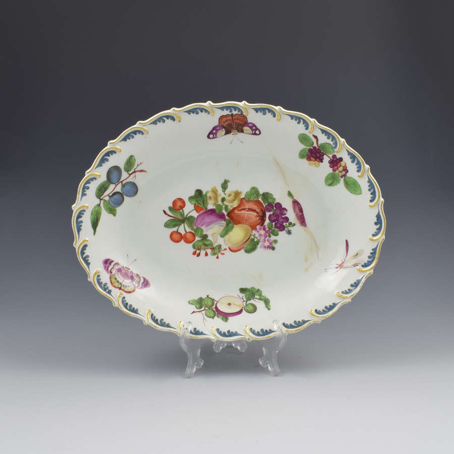 Chelsea Porcelain Feather Edged Large Oval Fruit Dish Gold Anchor