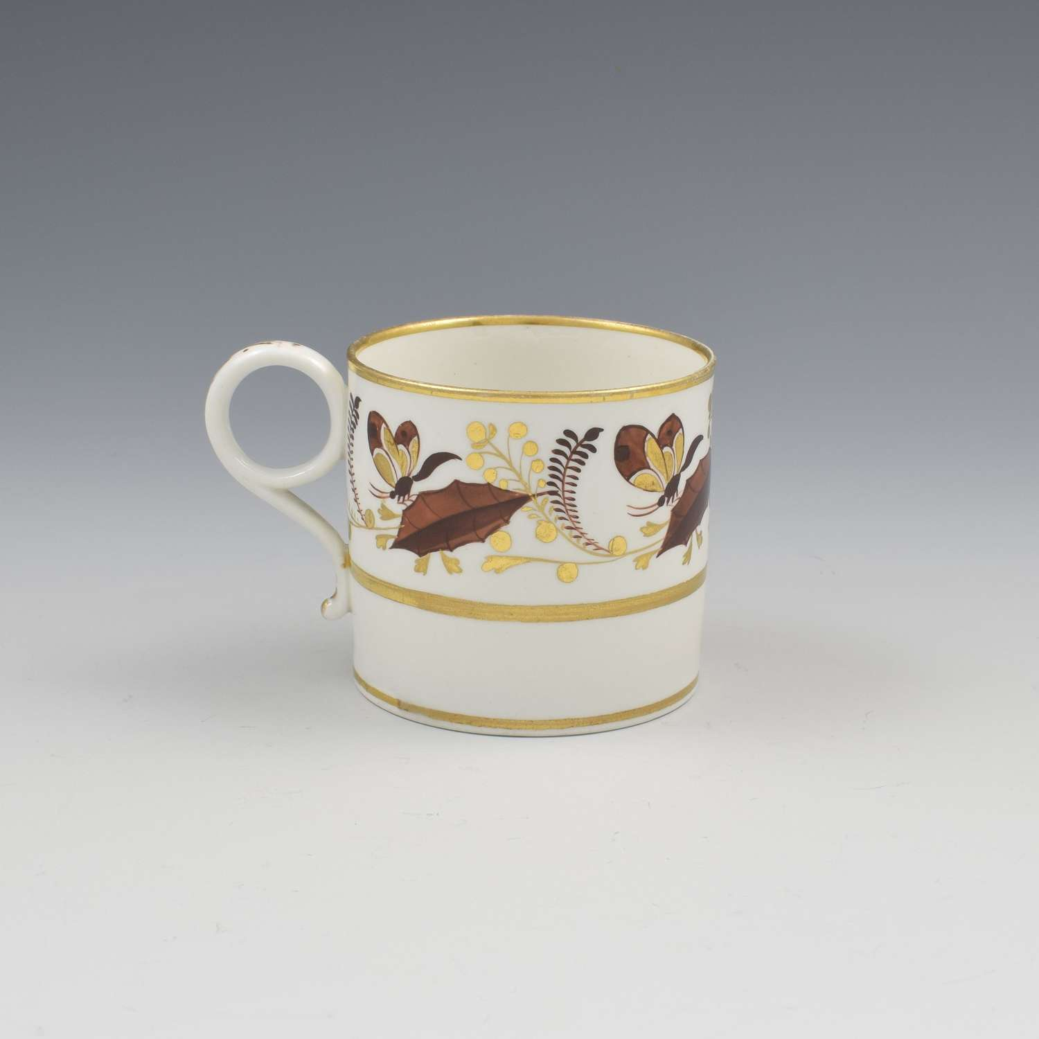 Barr, Flight & Barr Porcelain Coffee Can Holly Leaves & Butterflies