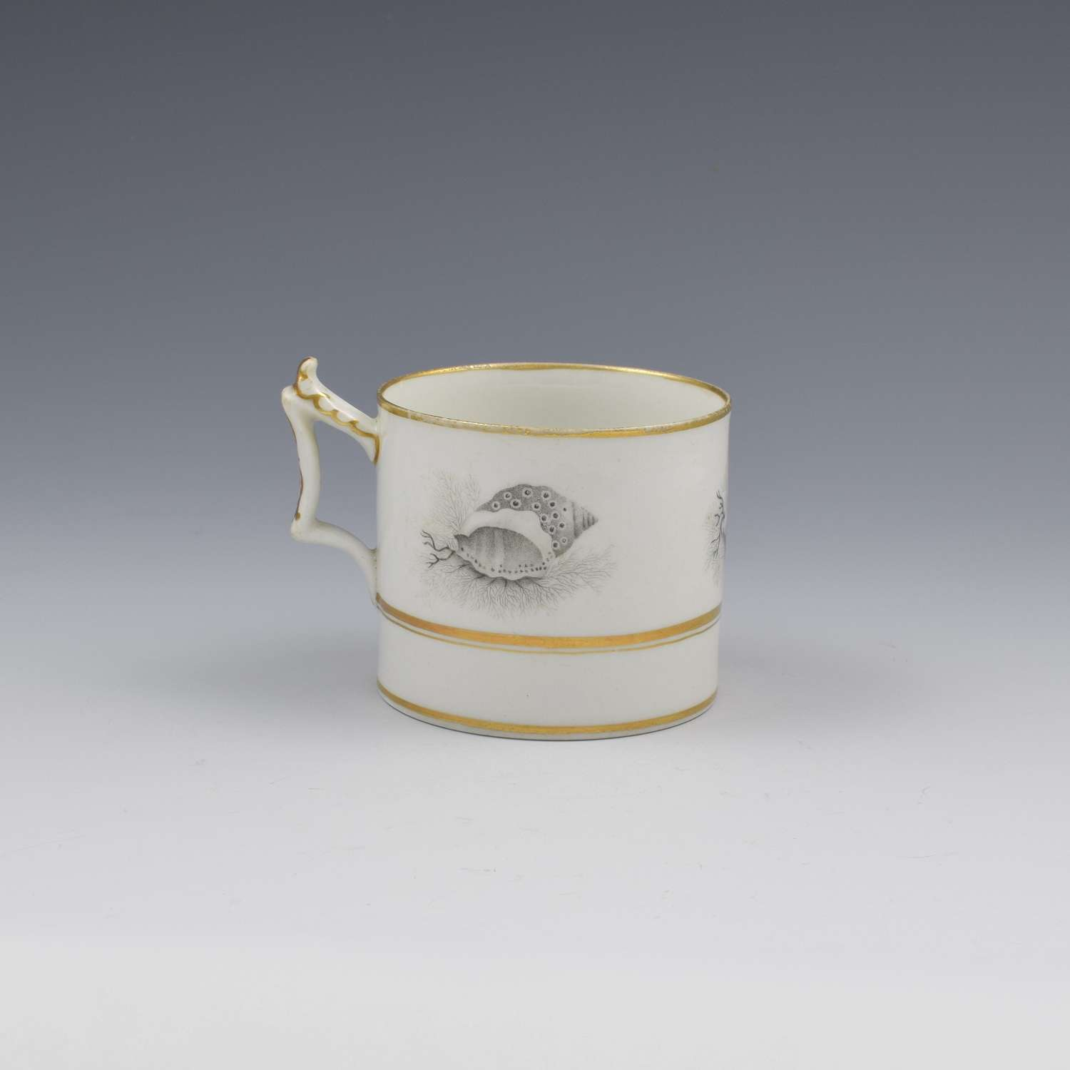 Flight, Barr & Barr Worcester Porcelain Seashell Printed Coffee Can