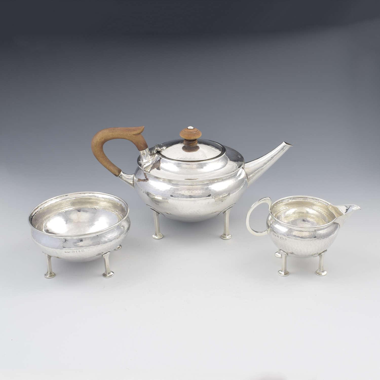 Stunning A. E. Jones Arts & Crafts Silver Tea Service (Albert Edward)