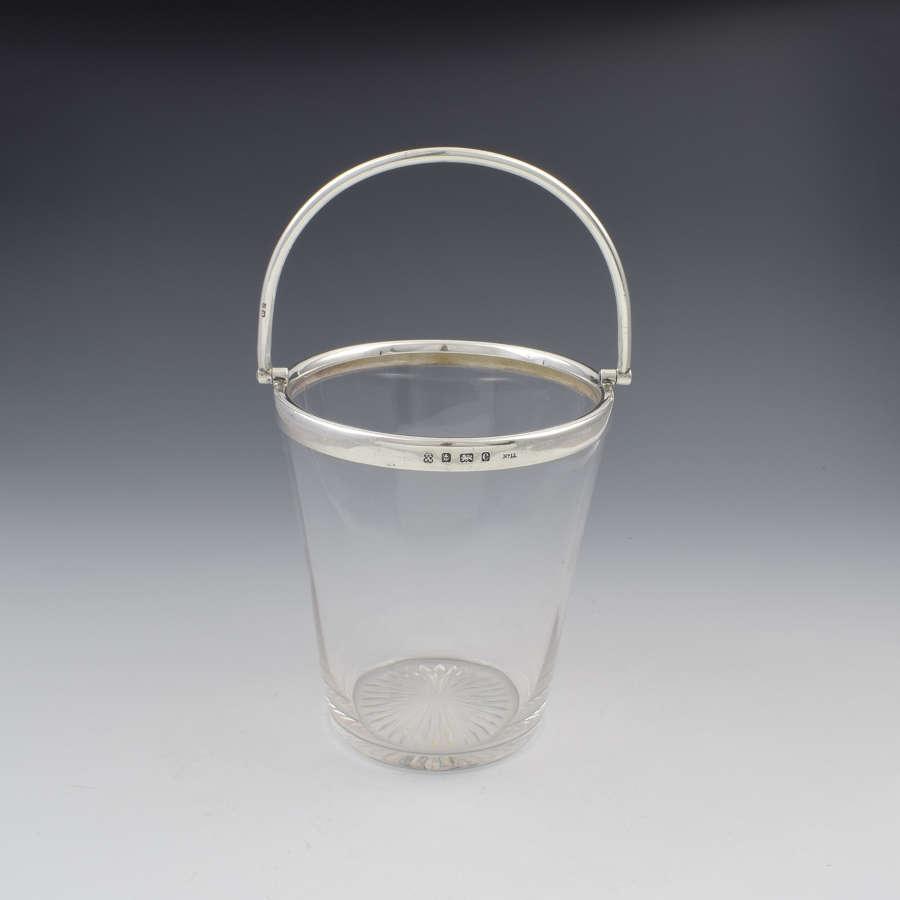 Fine Edwardian Sterling Silver Mounted Cut Glass Ice Pail Bucket