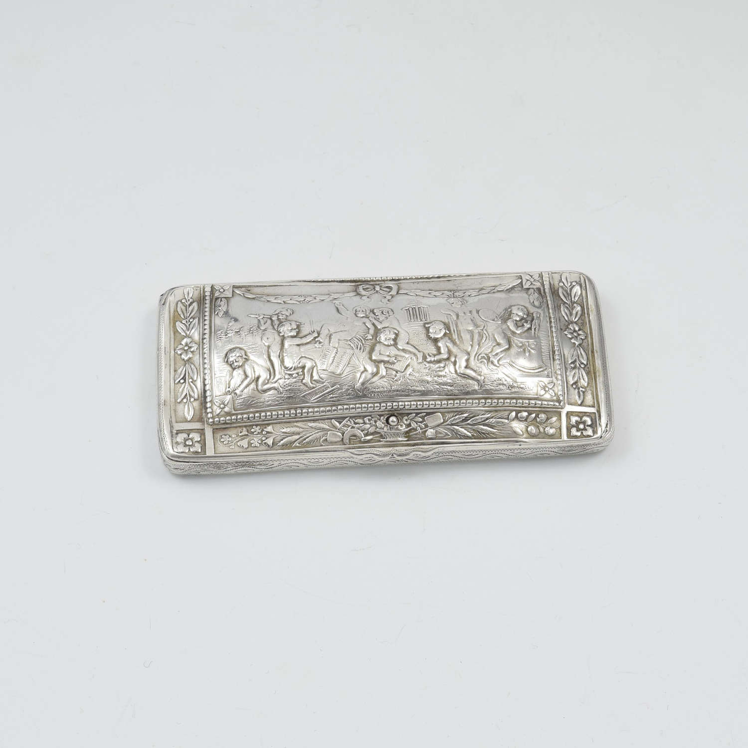 Fine Continental Silver Spring Loaded Visiting Card Case