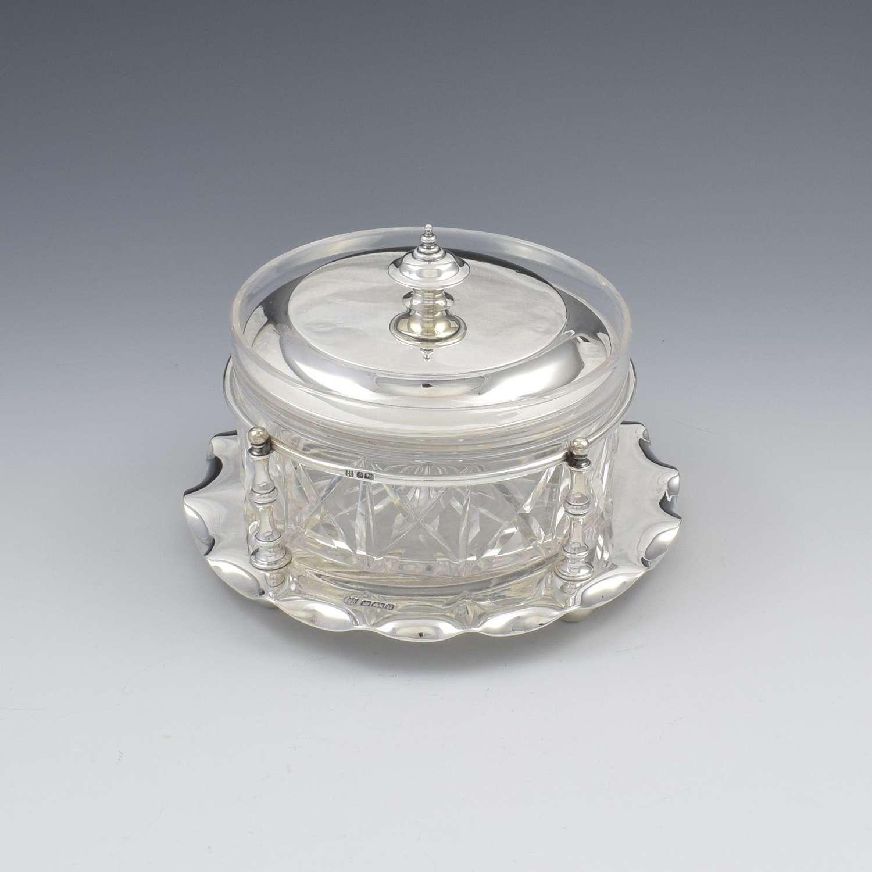 Fine Edwardian Sterling Silver & Cut Glass Butter Dish