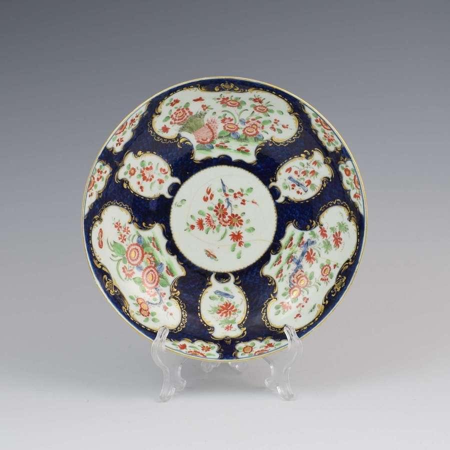 First Period Worcester Porcelain Blue Scale & Kakiemon Wheatsheaf Dish